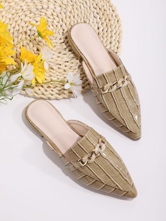 buy Animal Embossed Chain Embellished Half Flat Shoes - FALL LEAF BROWN EU 41