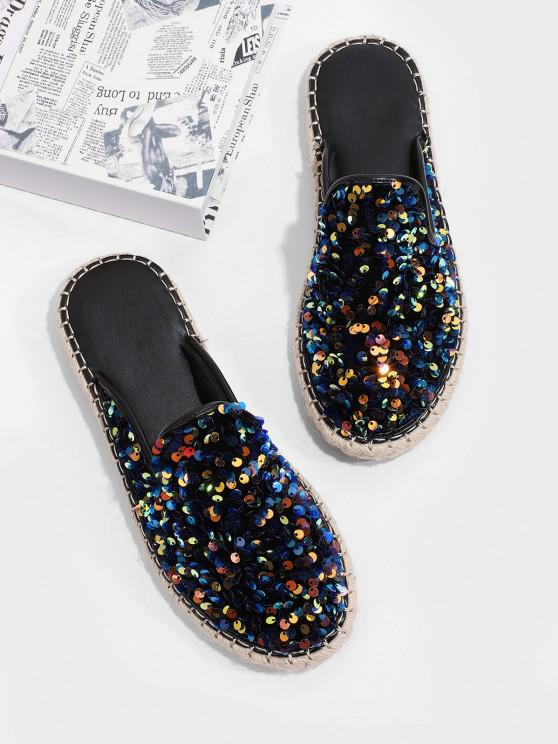 ladies Sequins Flat Outdoor Slippers - DARK SLATE BLUE EU 40