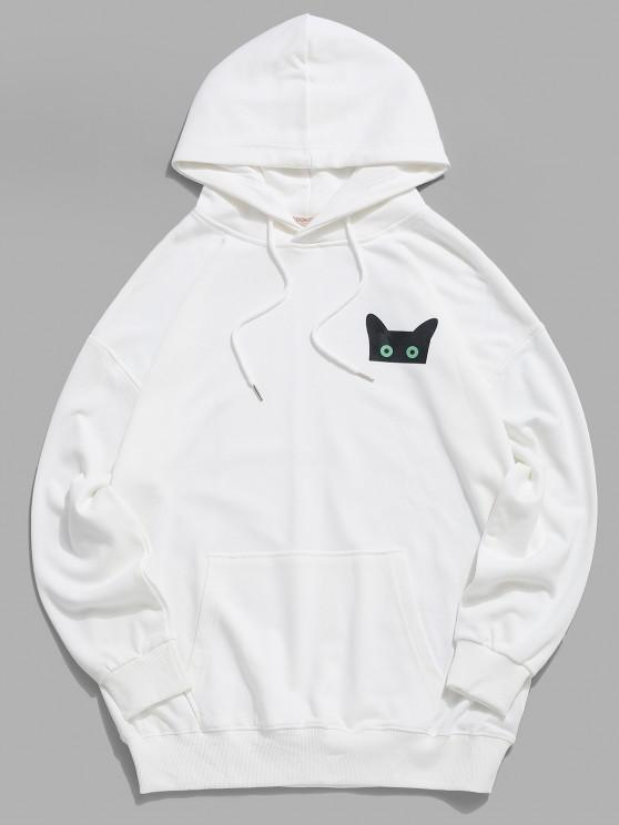 affordable Cartoon Cat Graphic Pouch Pocket Drawstring Hoodie - WHITE 2XL