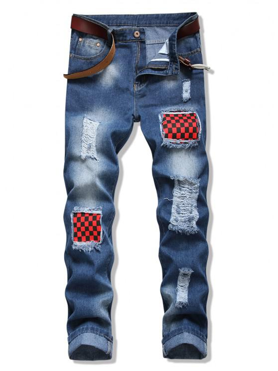 Distressed Checkerboard Patchwork Ripped Jeans - ازرق 36