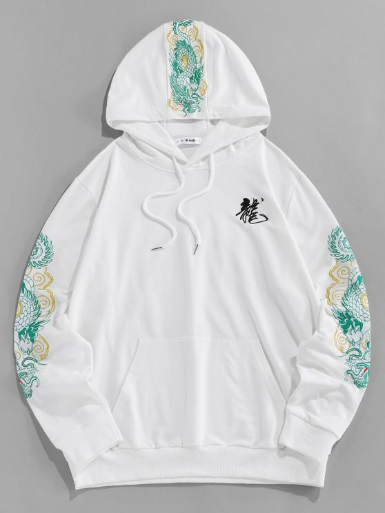 shops ZAFUL Kangaroo Pocket Dragon Embroidered Oriental Hoodie - WHITE 2XL