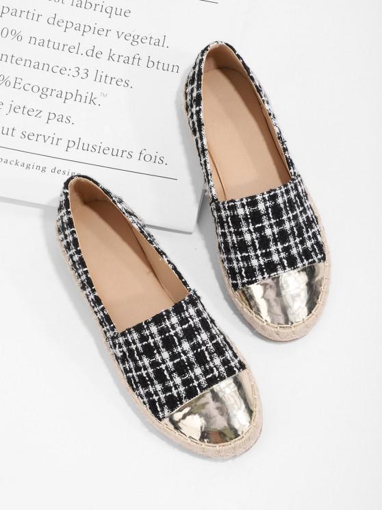 chic Metallic Toe Tweed Espadrilles Loafer Flat Shoes - BLACK EU 41