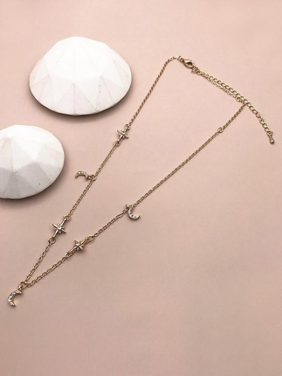 Rhinestone Moon Star Chain Necklace - ذهبي