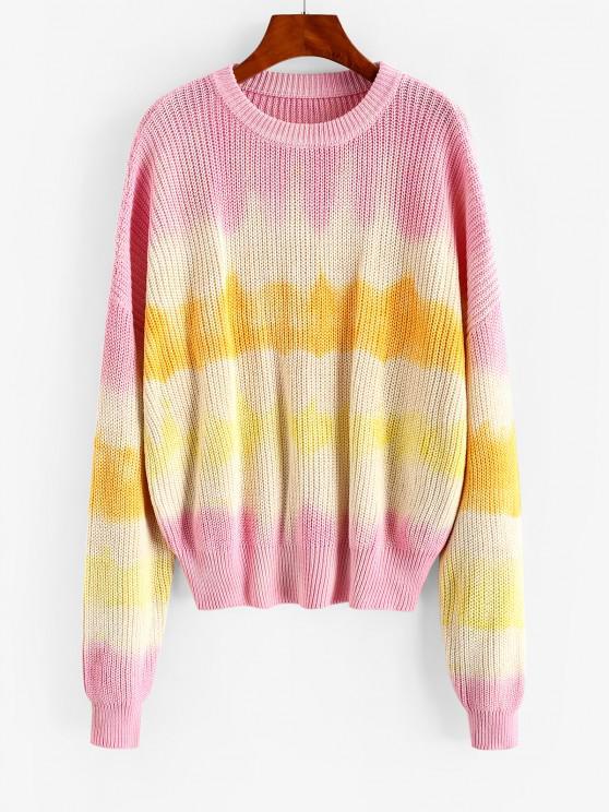 Übergröße Pullover mit Rundhalsausschnitt und Krawattenfärbende - Hell-Pink M