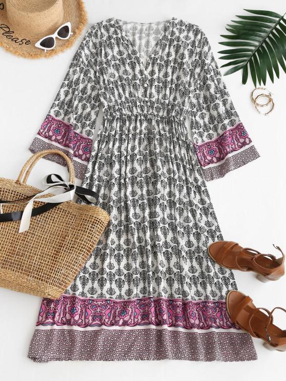 womens Long Sleeve Button Loop Bohemian Printed Dress - MULTI S