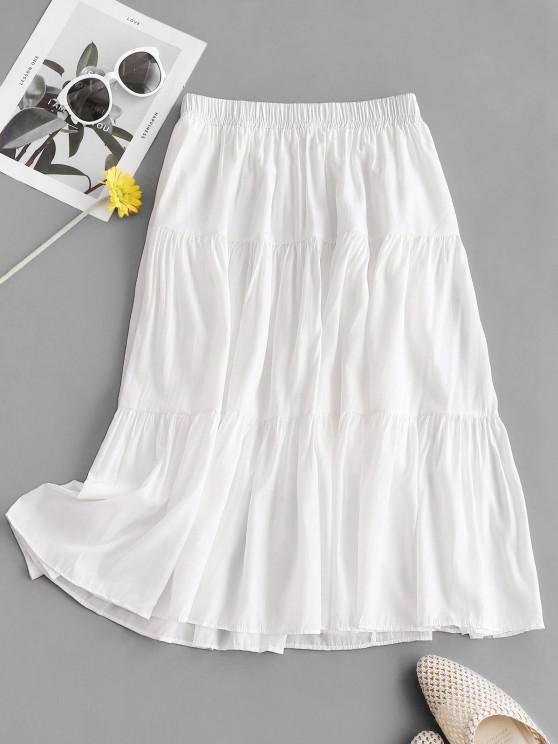 affordable Plain Tiered Midi Skirt - WHITE ONE SIZE