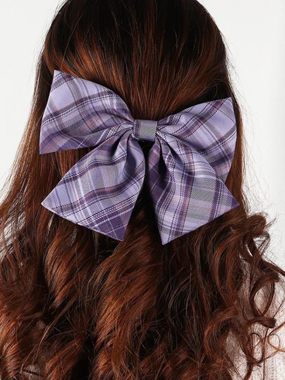 Bowknot Plaid Print Hair Clip - أرجواني