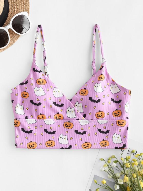 ZAFUL Halloween Ribbed Bat Pumpkin Surplice Bikini Top - ضوء ارجواني S
