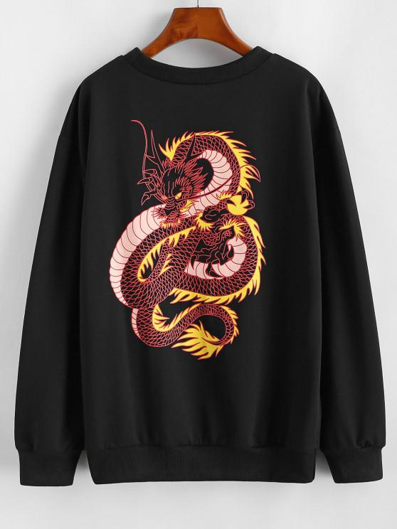 Dragon Pattern Oriental Basic Sweatshirt - أسود M
