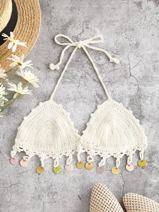 trendy Halter Crochet Disc Sequined Bikini Top - WHITE ONE SIZE