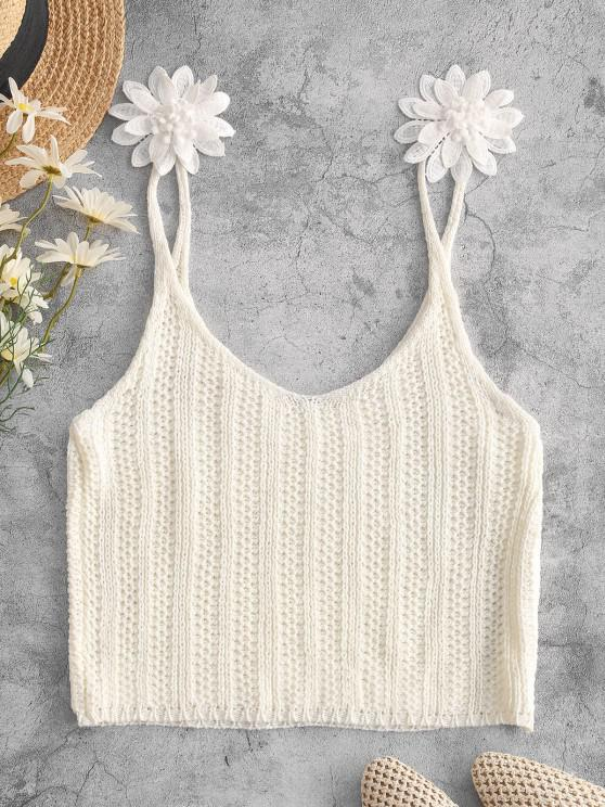 chic Applique Flower Crochet Crop Beach Tank Top - WHITE M