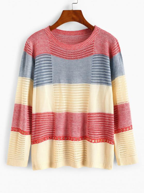 hot Color Blocking Pointelle Sheer Knit Sweater - RED ONE SIZE