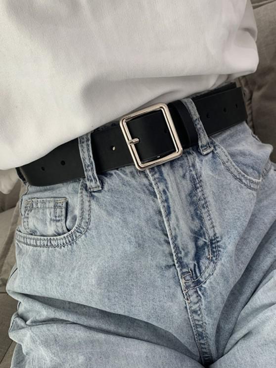 hot Square Pin Buckle Waist Belt - BLACK