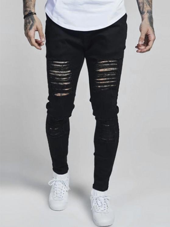 Jeans Magro Rasgados Elásticos - Preto 32