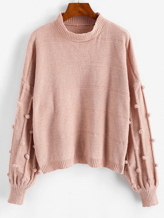 Dotted Bubble Pompom Chenille Drop Shoulder Sweater - وردي فاتح حجم واحد