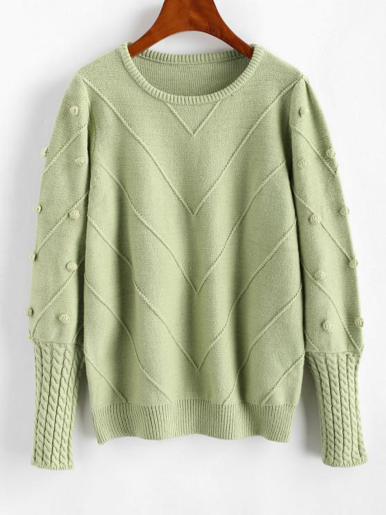 Dotted Bubble Cable Knit Pom Pom Sweater - اخضر فاتح حجم واحد