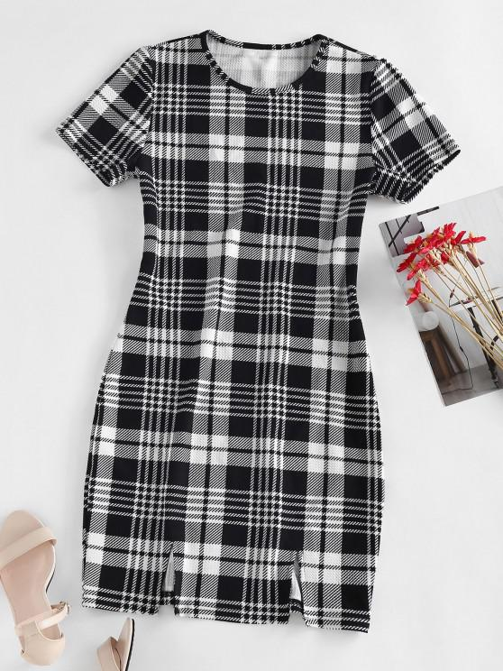 online ZAFUL Plaid Textured Bodycon Slit Dress - BLACK M