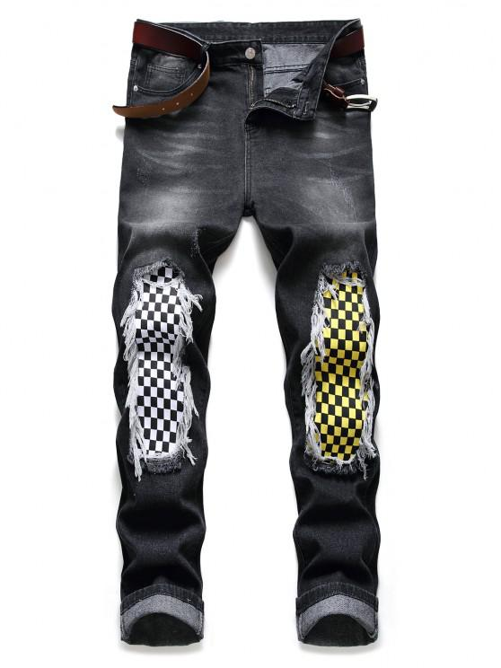 Long Checkerboard Print Patchwork Jeans - أسود 34