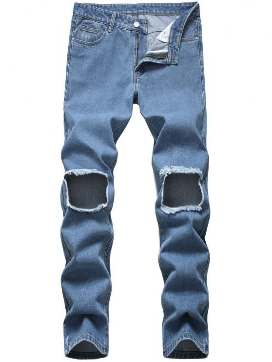 Frayed Cut Out Tapered Jeans - أزرق 38
