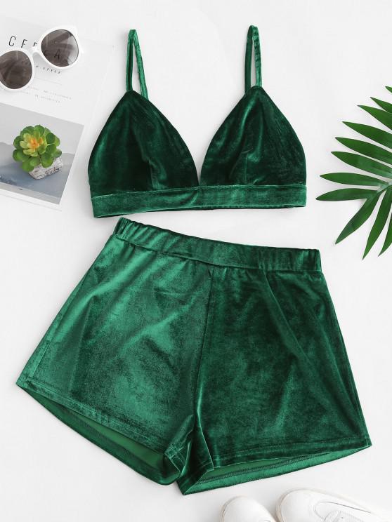 shops Louge Velvet High Waisted Bralette Shorts Set - DEEP GREEN S