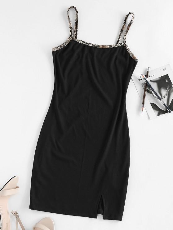 ZAFUL Front Slit Snake Trim Rib Knit Dress - أسود M