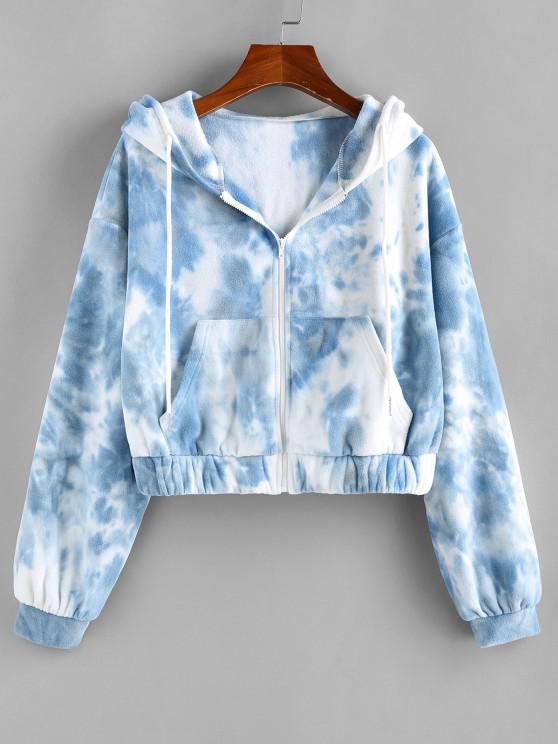 fancy ZAFUL Tie Dye Faux Fur Drop Shoulder Hooded Coat - SKY BLUE M