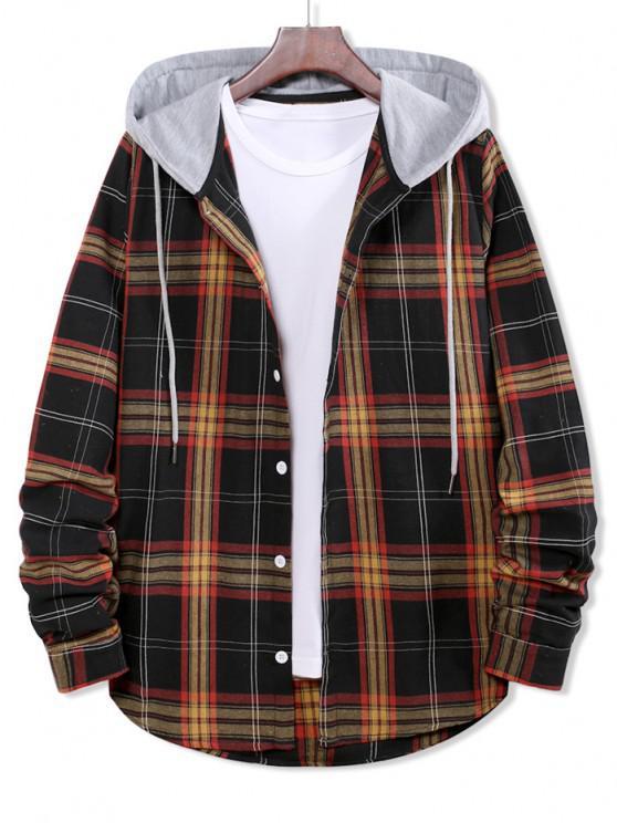 buy Colorblock Plaid Print Hooded Button Up Shirt - BLACK M