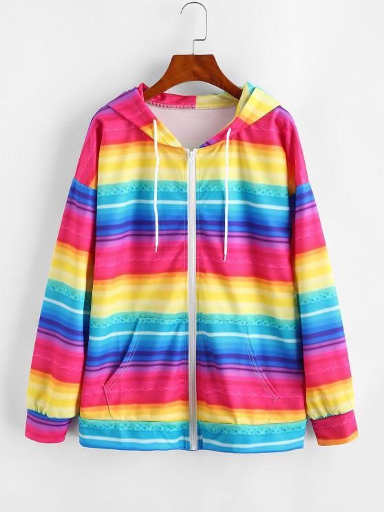 lady Full Zip Pockets Rainbow Stripes Hoodie - MULTI-A L
