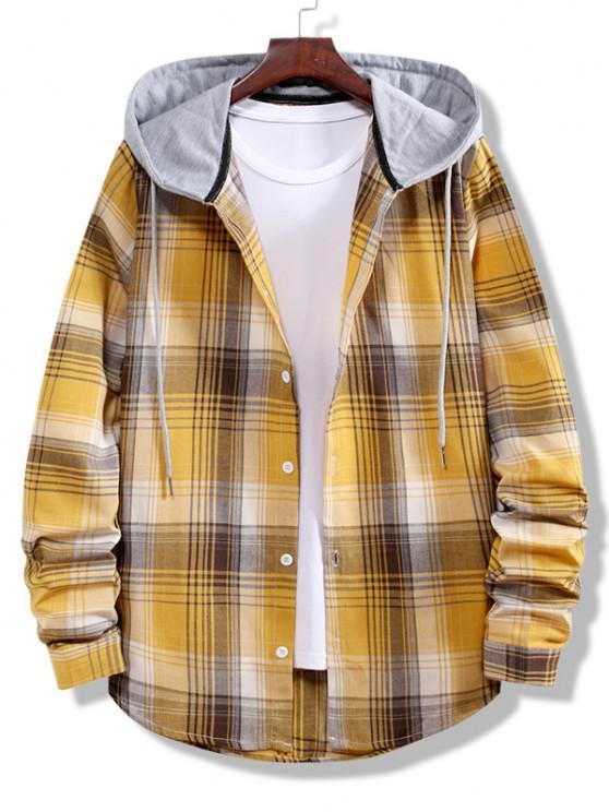Colorblock Striped Plaid Pattern Button Up Shirt - بني ذهبي M