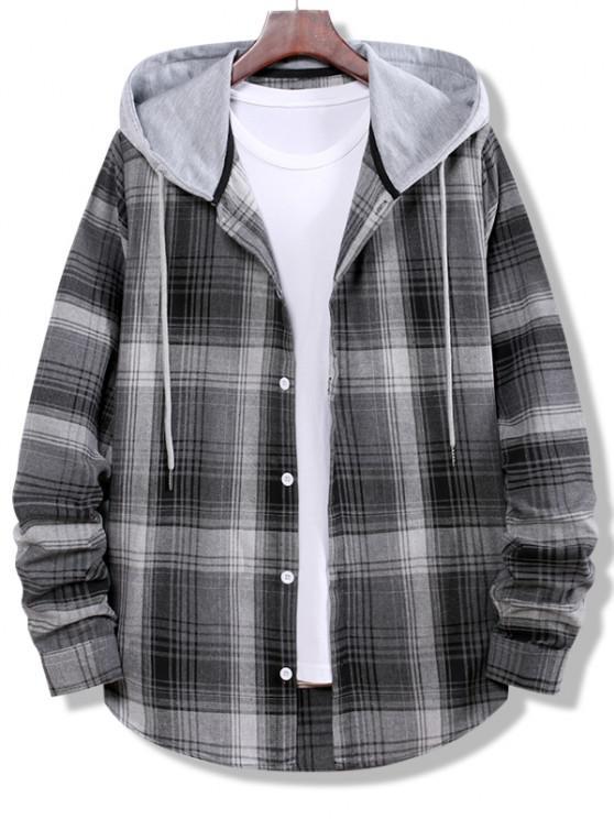 Xadrez Padrão Bloco de Cores Listrado com Botão Acima da Camisa - Cinzento de Fumo L