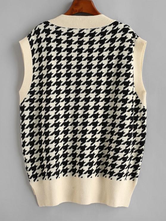 Houndstooth Stepped Hem Sweater Vest