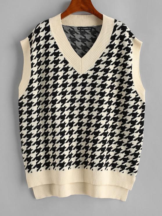 Houndstooth Stepped Hem Sweater Vest - القهوة الخفيفة L
