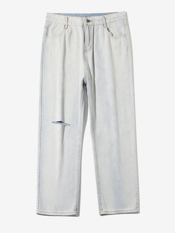 Light Wash Straight Leg Ripped Jeans - أزرق فاتح S