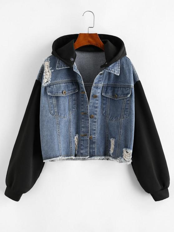 Distressed Frayed Removable Hood Denim Jacket - أزرق M