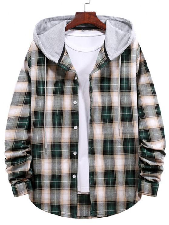 women's Plaid Pattern Colorblock Panel Hooded Shirt - DARK FOREST GREEN XL