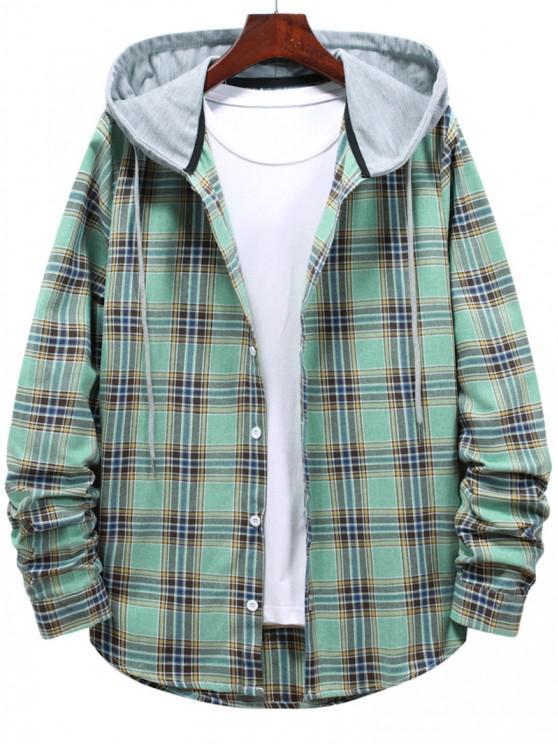 fancy Button Up Hooded Plaid Print Shirt - LIGHT GREEN 2XL