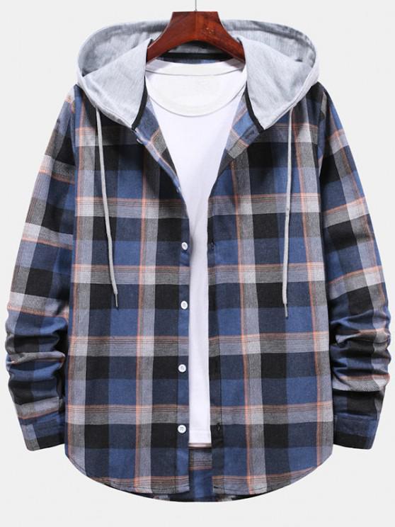 Camisa de Padrão Listrado com Capuz e Botão Xadrez - Azul de Mirtilo  L