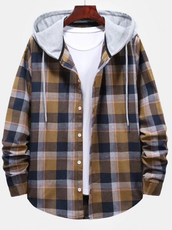 women Striped and Plaid Pattern Hooded Button Up Shirt - CAMEL BROWN M