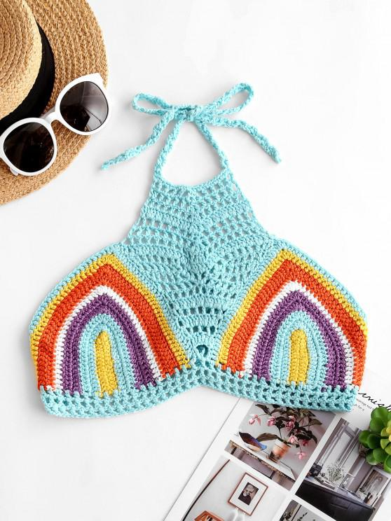 Halter Striped Crochet Tie Beach Top - أزرق فاتح مقاس واحد