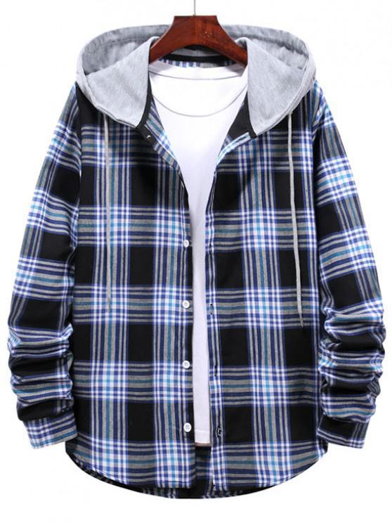 chic Checkered Stripe Pattern Drawstring Hooded Shirt - MIDNIGHT BLUE 2XL