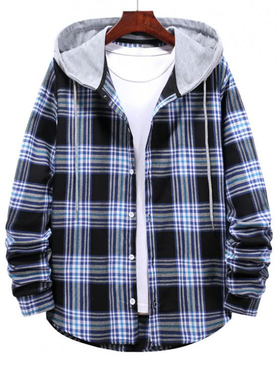 fancy Checkered Stripe Pattern Drawstring Hooded Shirt - MIDNIGHT BLUE M