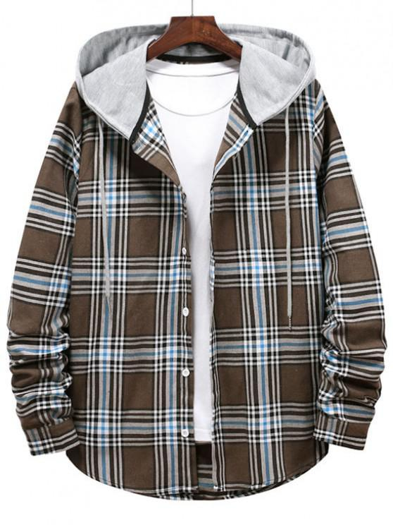 Checkered Stripe Pattern Drawstring Hooded Shirt - دب بنى XL