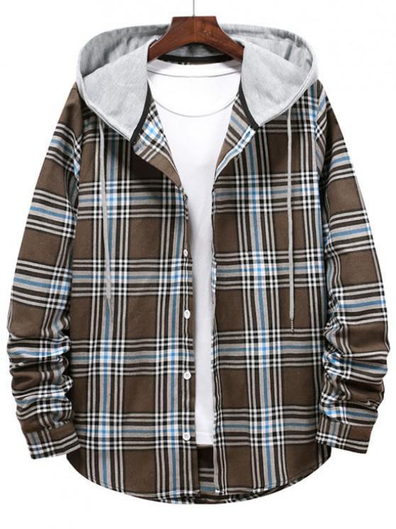 ladies Checkered Stripe Pattern Drawstring Hooded Shirt - BROWN BEAR S
