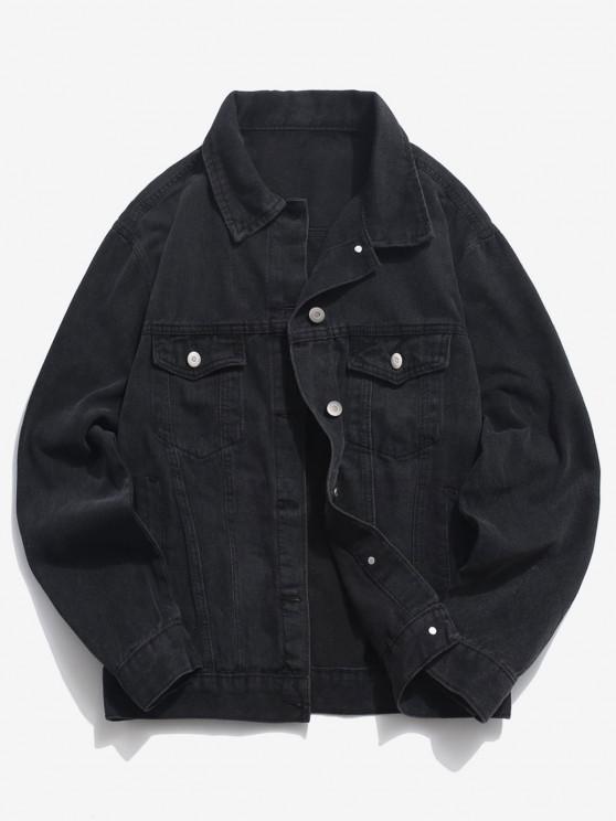 Pockets Button Up Denim Jacket - أسود 3XL