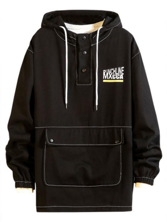 Pouch Pocket Drop Shoulder Pullover Hooded Jacket - أسود L