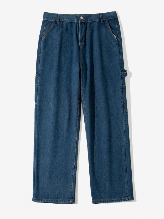 Letter Applique Straight Leg Carpenter Jeans - اللازورد الأزرق S