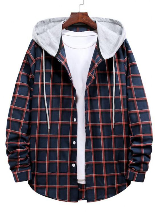 buy Long Sleeve Plaid Pattern Hooded Shirt - LAVA RED S