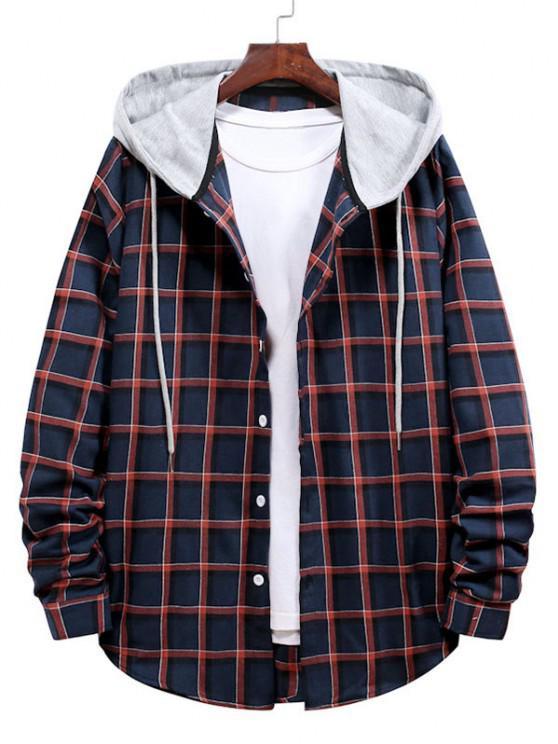 Long Sleeve Plaid Pattern Hooded Shirt - الحمم الحمراء L