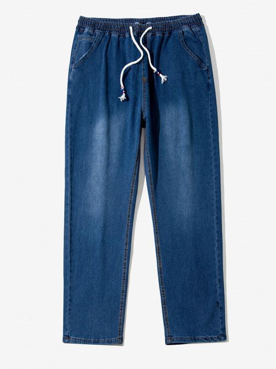 trendy Drawstring Light Wash Tapered Jeans - LAPIS BLUE XS