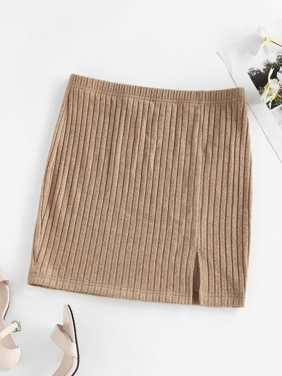 women's ZAFUL Front Slit Ribbed Bodycon Skirt - CAMEL BROWN M